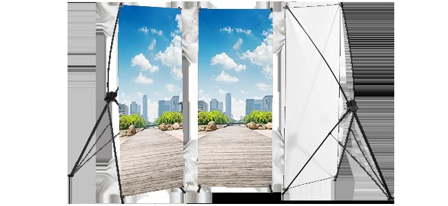 X-banners personalizados por la Imprenta online de lunes a domingo 24/7- X-banners